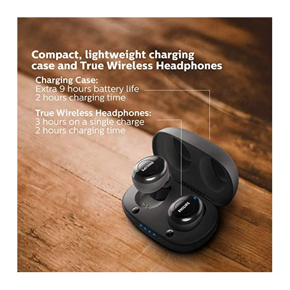 Philips Audio UpBeat TAUT102BK True Wireless TWS Black Bluetooth Earbuds with 12 Hrs Playtime (3+9), Voice Assistant