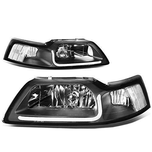 DNA MOTORING HL-LB-FM99-BK-CL1 Black Housing Clear Corner LED Headlight [99-04 Ford Mustang]