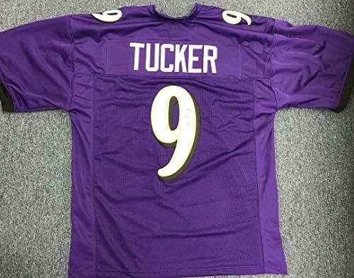 Justin Tucker Signed Autographed Purple Custom Jersey Jsa Coa ...