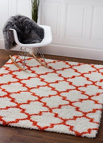 Super Area Rugs Moroccan Trellis Cozy Shag Rug for Home Decor 5' x 7', White & Orange (Rug White And Orange)