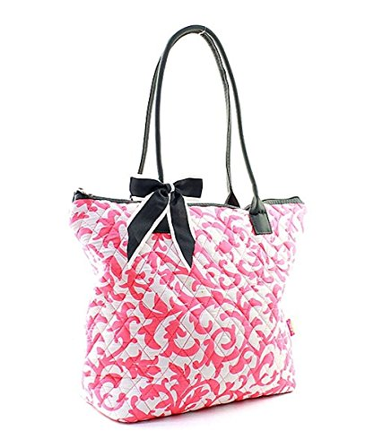 Damask Tote Cotton Quilted Ngil Coral Medium Owl Bag 1nZPZq8w
