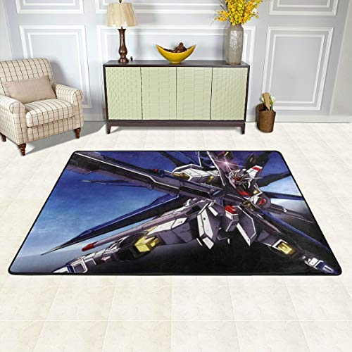 Angela R Mathews Gundam Seed Distiny-Strike Freedom Non-Slip Carpet Area Rug Modern Flannel Microfiber Anime/Cartoon Rectangle Carpet Decor Floor Rug Living Room,Bedroom,Study Floor Mat 3' X 2'