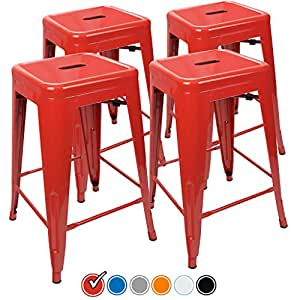 Urbanmod counter stools red home bar height bar stools 24 set of 4 barstools Home bar furniture amazon