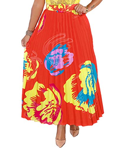 ThusFar Women's Party Pleated Skirts Floal Printed Colorful High Elastic Waist Elegant A-Line Long Swing Midi Skirt Red Flower S
