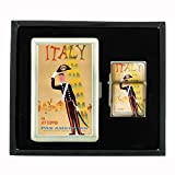 Cigarette Case Oil Lighter Gift Set Vintage Poster D-085 Italy Via Jet Clipper Pan American World's Most Experienced Airline