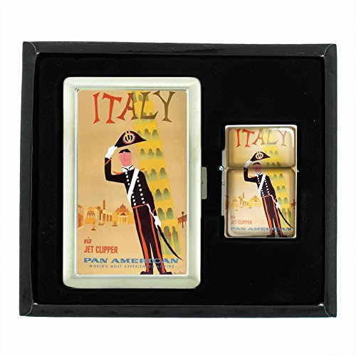 Cigarette Case Oil Lighter Gift Set Vintage Poster D-085 Italy Via Jet Clipper Pan American World's Most Experienced Airline by Perfection In Style