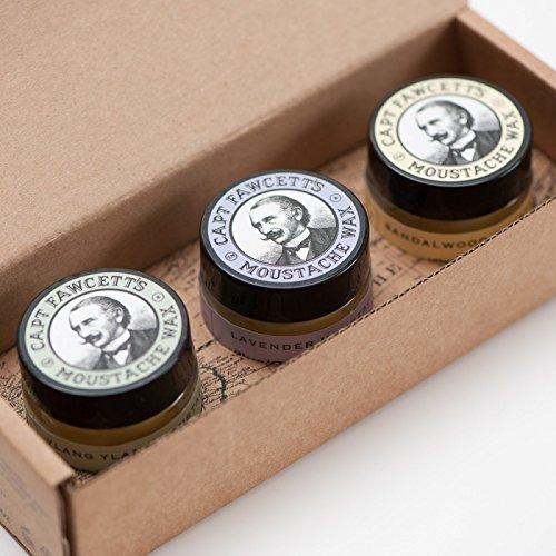 Captain Fawcett's Moustache Wax Cornucopia - 0.5oz (15ml) Jars, each of Lavender, Sandalwood & Ylang Ylang Moustache Wax Captain Fawcetts Moustache Wax