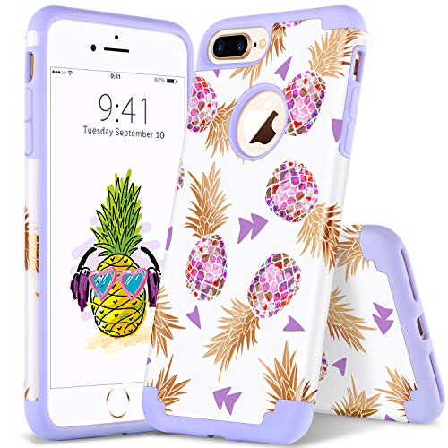 YINLAI iPhone 8 Plus/7 Plus Pineapple Case, Super Slim Hybrid Silicone Rubber Bumper Hard PC Cover Girly Women Shockproof Protective Phone Cases for iPhone 8 Plus/7 Plus, Purple Pineapple/Lavender