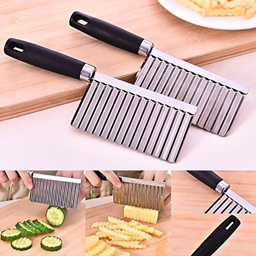 Vegetable Fruit Cutting, Elevin(TM) Potato Wavy Edged Tool Stainless Steel Kitchen Gadget Vegetable Fruit Cutting Knife (Black) ()
