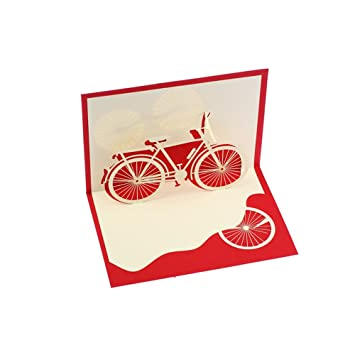 Creative 3d Bicycle Handmade Paper Greeting Card Birthday Cards