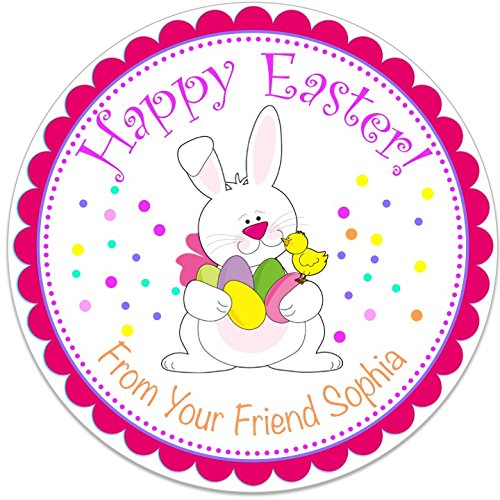 40 round labels 2 happy easter bunny basket personalized stickers personalized labels for easter