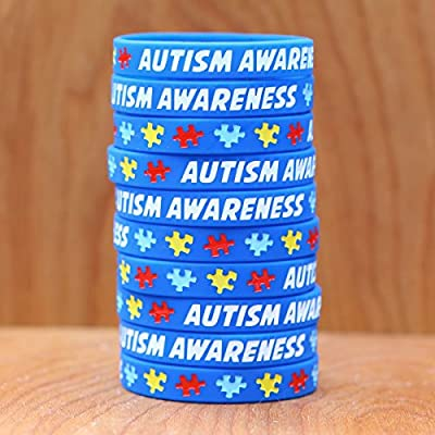 10 Autism Awareness Wristbands - Colorful Puzzle Pieces Silicone Bracelets