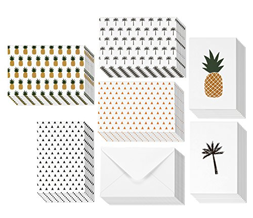 All Occasion Greeting Cards - 6 Designs: Pineapple, Palm Tree, and Triangle - Blank Inside - Includes 48 Cards and Envelopes - 4 x 6 Inches
