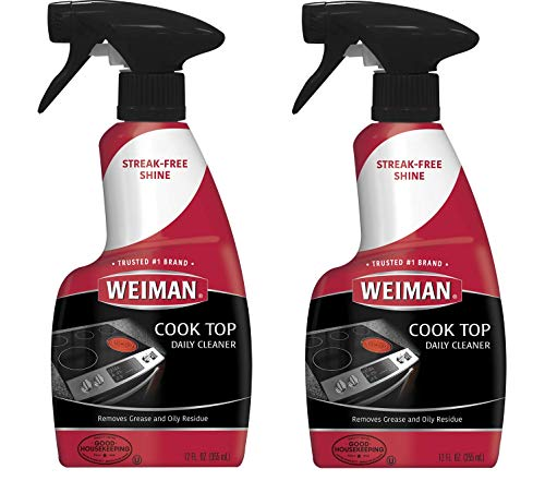 Weiman Ceramic & Glass Cooktop Cleaner - 12 Ounce 2 Pack - Daily Use Professional Home Kitchen Cooktop Cleaner and Polish Use On Induction Ceramic Gas Portable ()