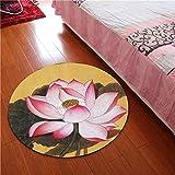 WAN SAN QIAN- 3D Round Carpet Chinese Office Carpet Basket Swivel Chair Carpet Mats Children Bedroom Lotus Carpet Rug ( Color : D , Size : 120x120cm )