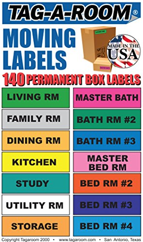 Tag-A-Room Moving Labels, 140 Count Color Coded Moving Stickers Labels, Moving Supplies 1