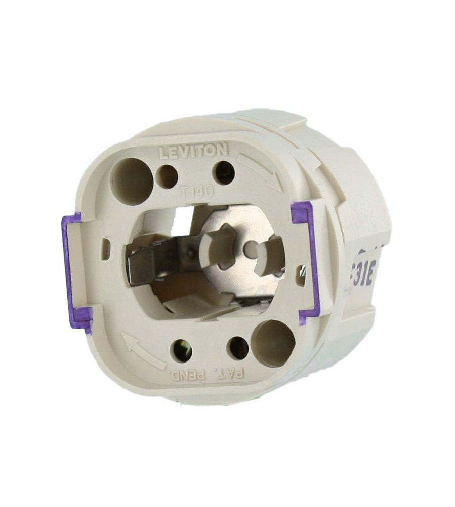 Leviton 26800-4A8 Twist-in Socket for G24q and GX24q Lamp Bases, 4-Pin, 120 W, 600 V, White/Purple