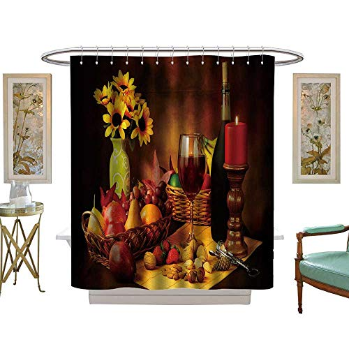 (luvoluxhome Shower Curtains with Shower Hooks Beautiful Still Life Image of red Wine Fruits and Nuts with dra ic Lighting W69 x L84 Satin Fabric Sets Bathroom)