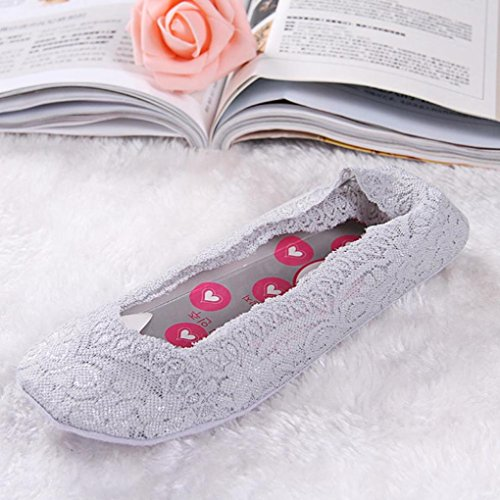 Sagton Women Summer Invisible Liner Low Cut Socks Cotton Lace Antiskid Boat-type Socks Gray b3A0q7SNr