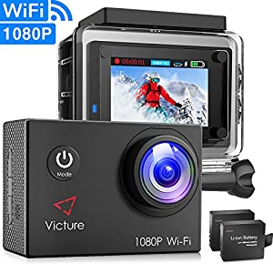 """Victure Action Camera Underwater Cam WiFi 1080P Full HD 12MP Waterproof 30m 2"""" LCD 170 degree Wide-angle Sports Camera with 2 Rechargeable 1050mAh Batteries and Mounting Accessory Kits"""