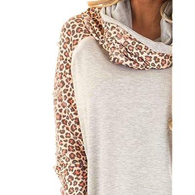 Blivener Women's Casual Sweatshirts Long Sleeve Leopard Print Tops Cowl Neck Raglan Shirts at Women's Clothing store