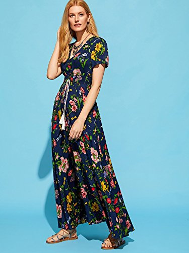 Milumia Flowy Maxi Split Floral s Button Print Dress Women Party Blue up rOxqfRrw