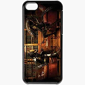 Personalized iPhone 5C Cell phone Case/Cover Skin Alien v predatorplaying chess movies Black