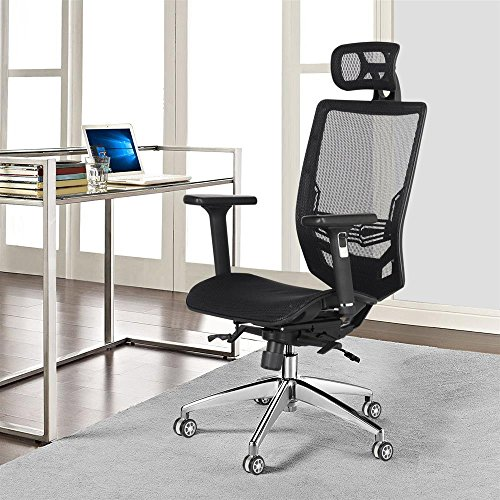 Yaheetech High Back Mesh Office Chair Ergonomic Computer Desk Chair -Stainless Steel Base/Seat Height/Headrest/Armrest/Angle of Backrest Adjustbale with Tilt Tension Control (Angle Office Chair)