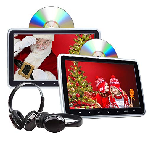 "Headrest DVD Player Car DVD Player 10.1"" Dual Car DVD Players with 2 Headphones Eonon C1100A for Kids Support Same/Different Video Playing/AV Out & in HDMI USB SD Port Touch Button"