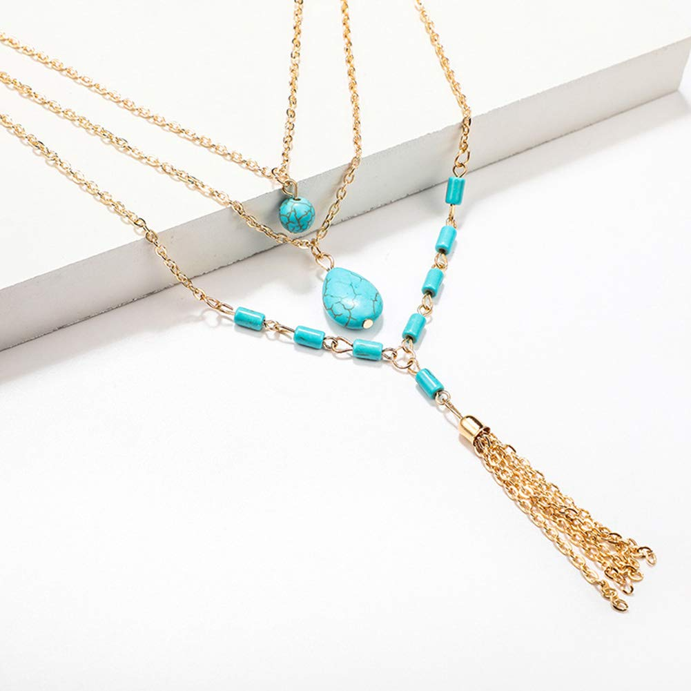 Everrikle Necklaces for women,Bohemia Women Multilayer Faux Turquoise Pendant Tassel Chain Necklace Jewelry,Mother's Day, Valentine's Day, Christmas, Holiday Gifts by Everrikle (Image #2)