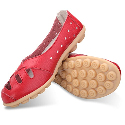 Driving Flats Slip Red Loafers Cut Casual a Women's Shoes Moccasin Out Labato Leather On 86q0zwp