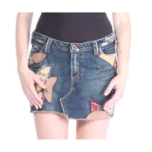 1921 AL021-DS Patchwork Skirt Skirts 30 Blue Women 1921 Jeans Cotton Jeans