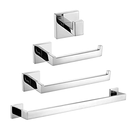velimax premium sus 304 stainless steel bathroom hardware sets 4 pieces wall mount contemporary style - Bathroom Hardware Sets