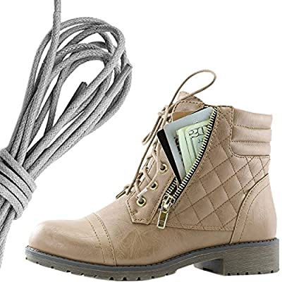 DailyShoes Women's Military Lace Up Buckle Combat Boots Ankle High Exclusive Quilted Credit Card Pocket Bootie