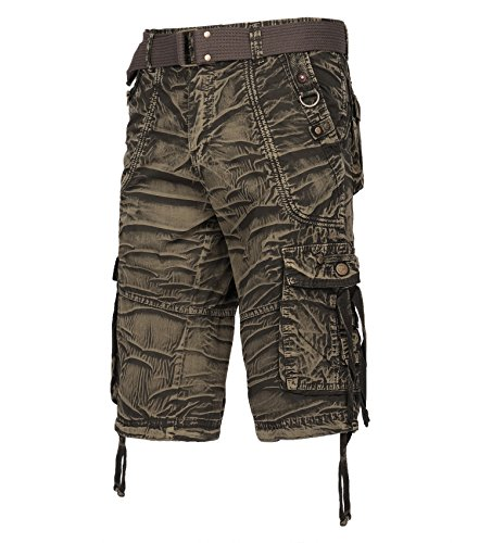 Resfeber Mens Cargo Shorts/Mens Loose Fit Athletic Twill Cargo Shorts Pants Uganda GREEN-32