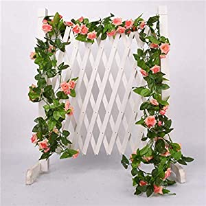 GSD2FF 1 Pcs Silk Roses Vine with Green Leaves for Home Wedding Decoration Fake Leaf DIY Hanging Garland Artificial Flowers,33pcs Pink,Cat 117