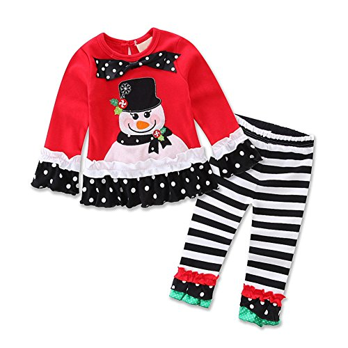 AOVCLKID Baby Girls Boy Cotton Long Sleeve Tops Pant Suit Kids Embroidery Outfits Clothes Christmas Set (Red,120/5T)