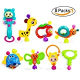 FOREAST 8 PCS Baby Rattles Set Infant Teether Toys BPA Free Colorful Animal Shapes