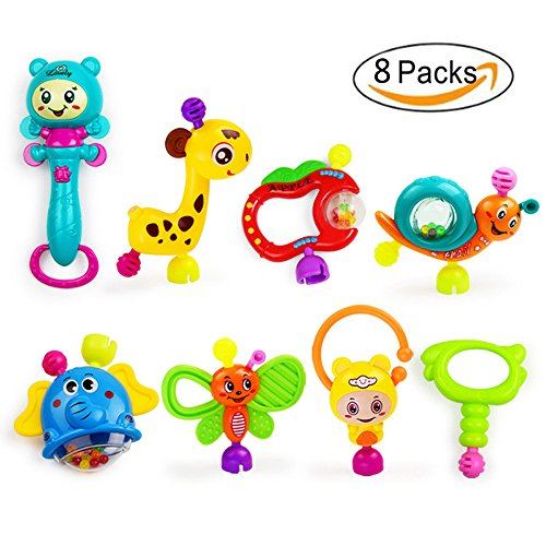 FOREAST 8 PCS Baby Rattles Set Infant Teether Toys BPA Free Colorful Animal Shapes by FOREAST