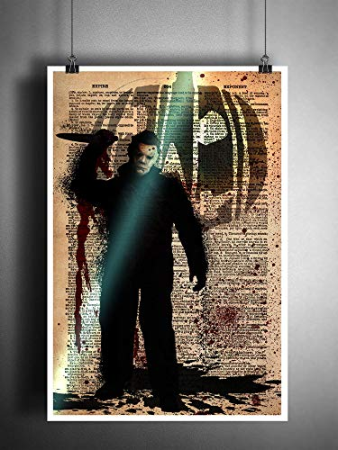 (Horror art, Michael Myers Halloween artwork, creepy movie)