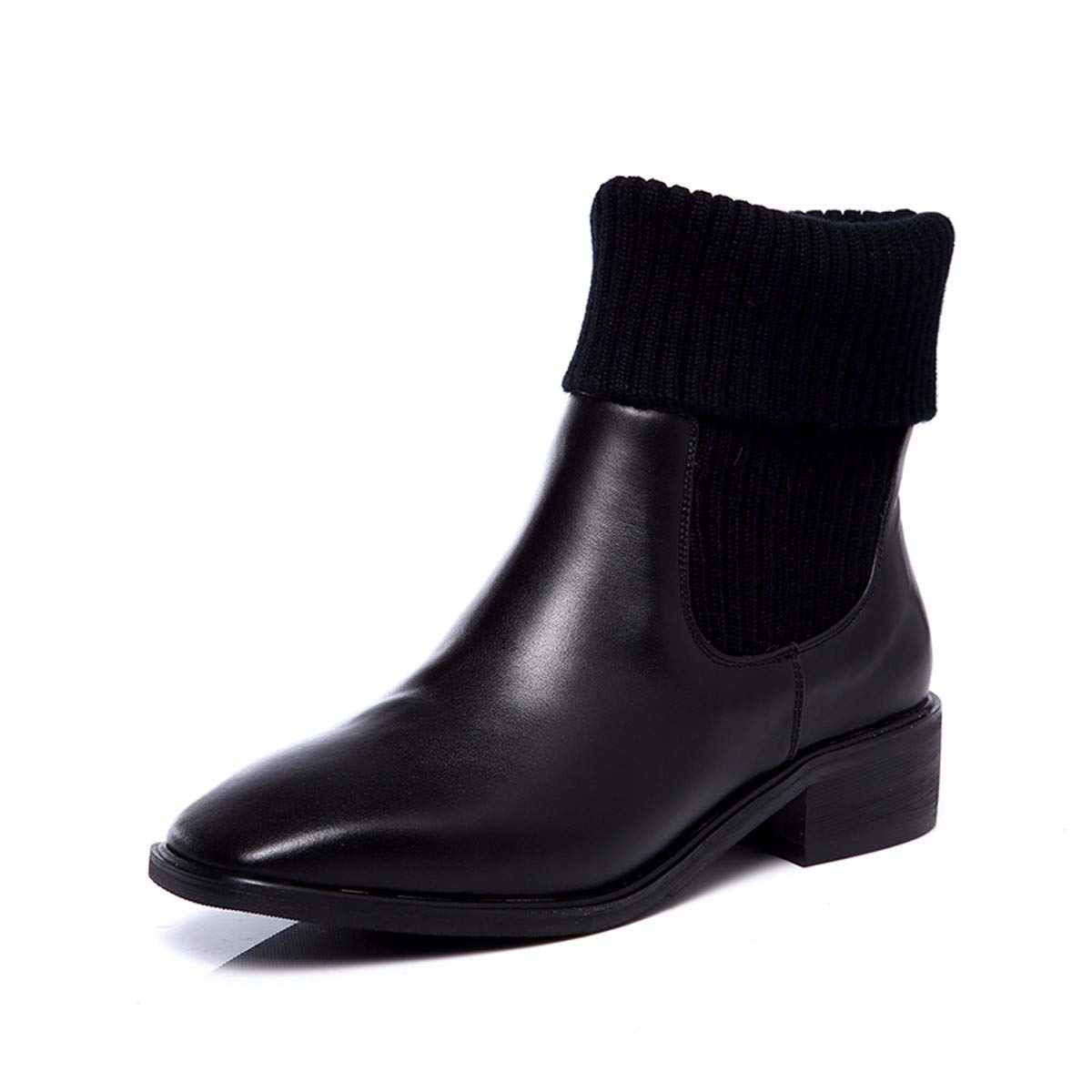 noir noir KOKQSX-MesLes dames Court Bottes tête carrée Cuir Tricot Dur au Pied Mode Martin Bottes Bottes de Nus.  peu coûteux