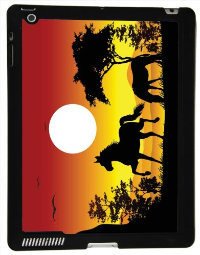 Rikki Knight? Horse Silhouette on Orange Sky Design Smart Case Ultra-thin with Magnetic support for Apple iPad? 2/3/4 Gen