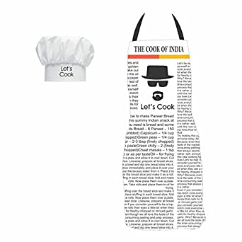 YaYa cafe Gifts for Men, The Cook of India Funny Kitchen Chef Apron for Men with Chef Hat, Birthday Anniversary Gifts for Husband Boyfriend