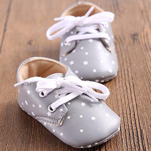 La Vogue Zapatos de Bebé PU Estrella Antideslizante para Primeros Pasos Gris