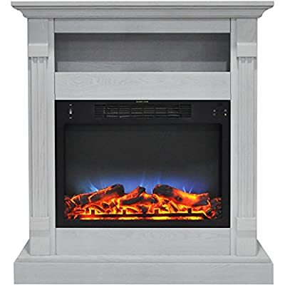 Cambridge CAM3437-1WHTLED Sienna 34 in. Electric Fireplace w/Multi-Color LED Insert and White Mantel