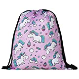 Beautyonline Unicorn Drawstring Bags for Unicorn Party Supplies, Unicorn Drawstring Shoulder Backpack Bag for Kids Children Unicorn Party Favors Birthday Gift(13.0 x 16.6 inch Style 09-Purple)