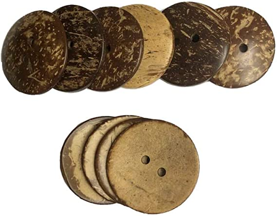 10 pcs 1.5 inch Natural Coconut Buttons New Thick Conconut Shell Buttons 2 Holes Wood Buttons for Carafts Sewing Decorations DIY