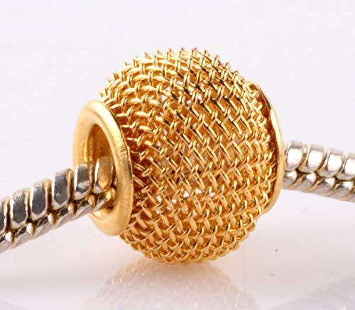 5pcs golden gauze hollow big hole spacer beads fit Charm European Bracelet AB940 -