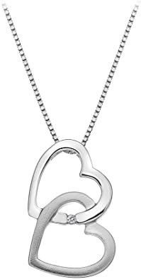 Hot Diamonds Round Diamond and Micro Letter M 925 Sterling Silver Pendant with 46 cm Curb Chain