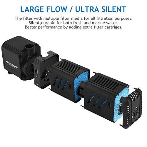 NO.17 Submersible Aquarium Internal Filter 8W, Adjustable Fish Tank Filter with 200 GPH Water Pump for 10-50 Gallon Fish Tank